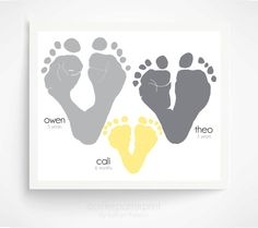 Gift for Grandparents  Yellow and Gray Wall by PitterPatterPrint, $50.00