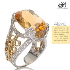 Alexia: Magnificent ring with diamonds set in 18k yellow and white gold with a celebratory citrine in the centre. Quoted as 'historic' down the decades. #HSJJewellery #Everydaybeautiful