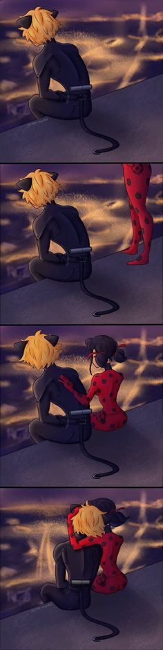 Being there for each other (by Minkerdoodle, Miraculous Ladybug, chat noir)