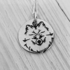 Disc Necklace, Engraved Necklace, Washer Necklace, Necklaces, Dog Jewelry, Pomeranian, Dog Gifts, Gift For Lover, Caption