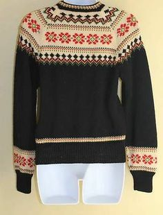 Vintage Norwegian Sz s Nordic Folk Floral Wool Cardigan Sweater Beautiful | eBay