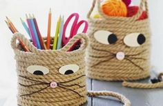 Cats Toys Ideas - Easy Craft for Kids - Cat Storage Baskets - Ideal toys for small cats Rope Crafts, Craft Projects For Kids, Cat Crafts, Easy Crafts For Kids, Diy For Kids, Diy And Crafts, Arts And Crafts, Craft Ideas, Diy Ideas