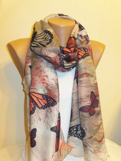 Handmade Monarch Butterfly Fashion Scarf