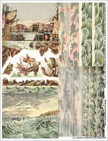 Ships and Waves Backdrops Collage Sheet