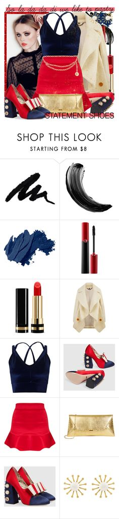 """doing what every we want - Double Take: Statement Shoes"" by virtual-closet-collector ❤ liked on Polyvore featuring Bobbi Brown Cosmetics, Giorgio Armani, Gucci, Burberry, Miss Selfridge, Meg Carter Designs and Chanel"
