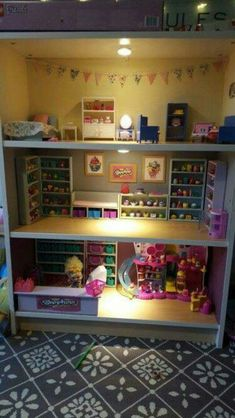 Shopkins dollhouse from repurposed bookshelf