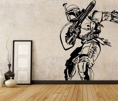 Star Wars Boba Fett Vinyl Wall Decal, Room Decor Removable Starwars Sticker Gift #3M #Modern