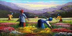 Quadro Colheita Flores | Tabuleiro das Artes | Elo7