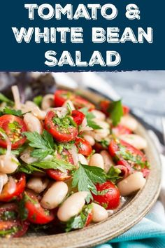 This super easy tomato & white bean salad takes only 10 minutes to make, and is a great way to use up a summer tomato glut. It is delicious as a main meal salad with a loaf of crusty bread, or tucked into lunchboxes for an easy lunch. Bean Salad Recipes, Salad Dressing Recipes, White Bean Recipes, Vegetarian Recipes, Cooking Recipes, Healthy Recipes, White Beans, Side Dishes Easy, Summer Salads