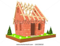 Illustration. New unfinished home on green grass