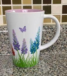 David's Tea Cup Coffee Mug Colourful Flower Design Pattern Grass Butterfly #DavidsTea