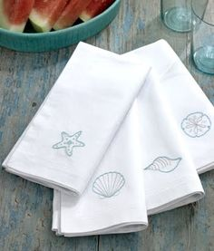 embroidered tea towels with nautical theme