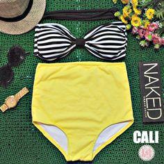 Cali - Retro Vintage Pin Up Handmade Yellow Black White Stripes High Waist Bikini Swimsuit Swimwear