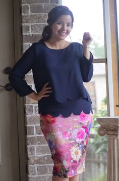 We carry several pencil skirt that are modest in length and have no slits, like this Pink Floral skirt. Link in bio