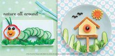 cucumber caterpillar and birdhouse scene lunches