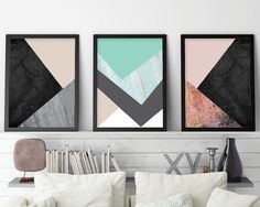 Set of 3 Prints, Scandinavian Print, Minimalist Poster, Downloadable Prints, Print Set, Scandinavian Modern, Mint, Rose Gold, Blush Pink THESE ARE INSTANT DOWNLOADS – Your files will be available instantly after purchase. Please note that this is a digital download ONLY, no