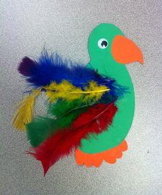 Rainforest birds - kids add feathers to bird cutouts Rainforest Preschool, Rainforest Crafts, Rainforest Birds, Preschool Jungle, Rainforest Theme, Preschool Crafts, Rainforest Habitat, Jungle Theme Crafts, Safari Crafts