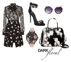 A fashion look from January 2017 featuring floral dresses, heeled sandals and floral purse. Browse and shop related looks. Olivia Burton, Carven, Torrid, Giuseppe Zanotti, Polyvore Fashion, Kate Spade, Fashion Looks, Dark, Chic