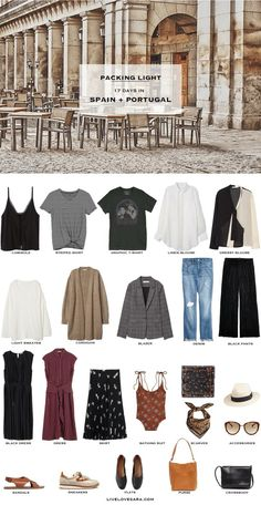 Packing Light: 17 days in Spain and Portugal in September. What to Pack. Summer/… Packing Light: 17 days in Spain and Portugal in September. What to Pack. Summer/ Summer to Fall Travel Capsule Wardrobe 2018 Europe Travel Outfits, Winter Travel Outfit, Winter Outfits, Summer Outfits, Travel Wardrobe, Travel Europe, Spain Travel, Summer Travel, Summer Packing Lists