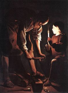 St. Joseph, 1642. Georges de la Tour (1593 – 1652). French Baroque.  Making toy for son, looks like carpenter. Very natural. Limited colours. Light source seen and with symbolic emphasis on Jesus. No diagonals. Tranquil.