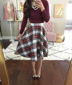 Burgundy long sleeve tee, classic plaid skirt, burgundy bow pumps, holiday outfit, faux pearl necklace - click the photo for outfit details! This whole outfit Modest Dresses, Modest Outfits, Modest Fashion, Cute Outfits, Dress Fashion, Party Outfits, Rock Outfits, 80s Fashion, Indian Fashion