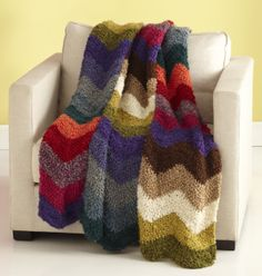 Earth, Wind and Fire Wow Afghan. Ripple afghan from Lion Brand Yarn. Free pattern.