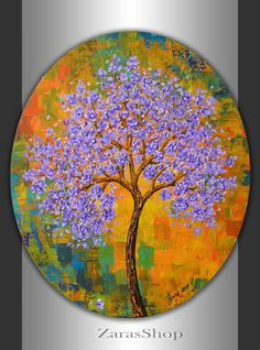 Blooming tree painting blue green yellow orange landscape 24x20 oval canvas original art colorful abstract  spring summer room wall decor