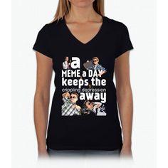 A Meme a Day Keeps the crippling depression away Womens V-Neck T-Shirt
