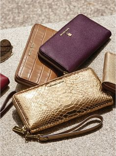 Jet Set Travel Metallic Embossed-Leather Continental Wristlet