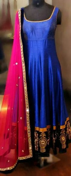 Blue Anarkali with pink dupatta. Love the combo! : Blue Anarkali with pink dupatta. Love the combo! Punjabi Dress, Anarkali Dress, Red Lehenga, Pakistani Dresses, Indian Dresses, Indian Outfits, Lehenga Choli, Bridal Lehenga, Indian Attire