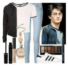 """Harry Potter Inspired Outfit"" by xx-tropicalvibes-xx ❤ liked on Polyvore featuring JLo by Jennifer Lopez, Frame Denim, Topshop, Boohoo, James Perse, adidas Originals, NARS Cosmetics and Bobbi Brown Cosmetics"