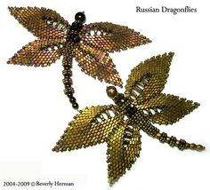 Lovely dragonflies made from adaption of Russian Leaf. For sale pattern ~ Seed Bead Tutorials