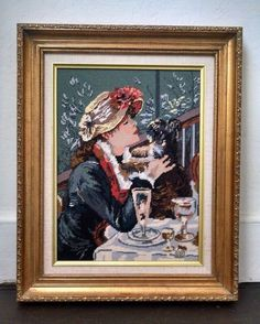 Completed Needlepoint Renoir Luncheon of the Boating Renoir Antique Frame 17x21 #Unbranded