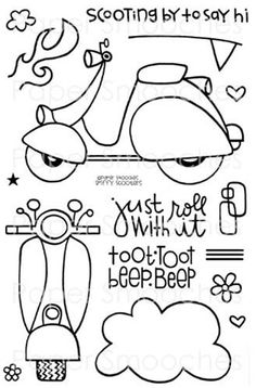 Spiffy Scooters.  Stamps by Paper Smooches.  Love that little Vespa.