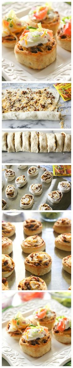 Taco Pizza Rolls – The Girl Who Ate Everything Wondering what to make for the big game? Taco Pizza Rolls – taco meat and cheese rolled up in pizza dough and topped with your favorite taco toppings. I Love Food, Good Food, Yummy Food, Delicious Meals, Mexican Dishes, Mexican Food Recipes, Mexican Potluck, Mexican Night, Mexican Meals