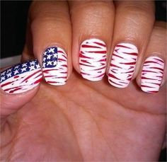 Give your mani a patriotic twist with creative of July nail art ideas. To celebrate patriotism choose white, blue and red colors for your nail art. Great Nails, Cute Nail Art, Fabulous Nails, Easy Nail Art, Nail Designs 2014, Acrylic Nail Designs, Acrylic Nails, Fourth Of July Nails Easy, Usa Nails