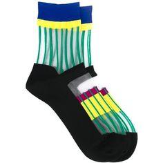 Issey Miyake Striped Sheer Socks (51,755 KRW) via Polyvore featuring intimates, hosiery, socks, black, multicolor socks, striped socks, issey miyake, sheer socks i sheer hosiery