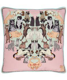 Precious Pussies Silk Cushion, Silken Favours at Liberty of London