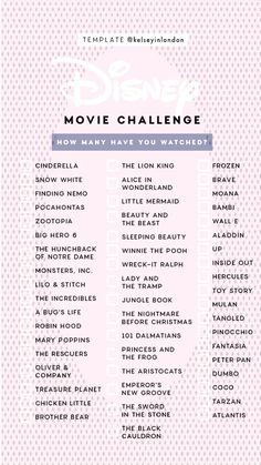 Disney Movie ChallengeYou can find List of disney movies and more on our website. Little Moana, Frozen Snow, Disney Challenge, Big Hero 6, Finding Nemo, Story Template, Disney Films, Zootopia, Aladdin