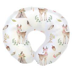 Boho Woodland Deer Boppy Cover with teepees, flowers & acorns Deer Baby Bedding, Baby Deer Nursery, Woodland Nursery Girl, Woodland Baby, Girl Nursery, Crib Bedding, Boho Nursery, Nursery Ideas, Bedding Sets