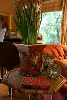 vignette design: Mad About Tartan Plaid Tartan is starting to appear in our living room for the holidays. Plaid toleware from TJ Maxx, years ago. The book is vintage. Tartan Decor, Tartan Plaid, Tartan Fabric, English Country Style, Town And Country, Country Living, Country French, Country Charm, Scottish Plaid