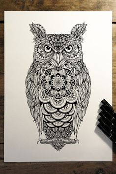 Picture Animal Mandala Tattoo, Tribal Owl Tattoos, Colorful Owl Tattoo, Sick Tattoo, Future Tattoos, New Tattoos, Tatoos, Owl Tattoo Design, Tattoo Designs