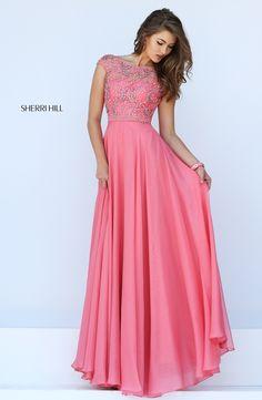 Fashion Bateau Neckline Crystal Prom Dress Sherri Hill 50132