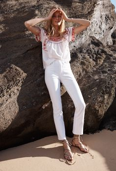 madewell wildfield embroidered top worn with the white cali demi-boot jeans + boardwalk lace-up sandal.