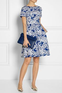 In another world where I am extremely wealthy, I would wear Oscar de la Renta exclusively | OSCAR DE LA RENTA Printed stretch-cotton dress