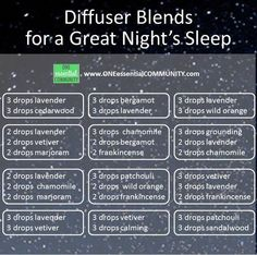 Essential Oil Diffuser Blends for a Great Night's Sleep. Star sleeping better tonight!