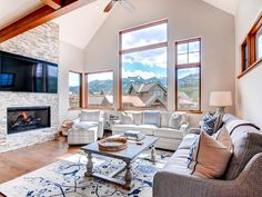 Light and Bright Living Area with Views of the Tenmile Range and Quandary Peak