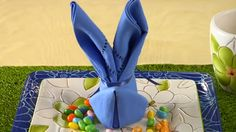 Easter Bunny Napkin Fold in Chic and Crafty, Easter, Party Bunny Napkin Fold, Napkin Folding, Easter Crafts, Holiday Crafts, Holiday Fun, Easter Table Decorations, Easter Table Settings, Hoppy Easter, Easter Bunny
