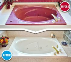 """You think the color of your old bathtub is ugly? This customer saw one of our TV commercials, called us and said, """"Help!"""" Our mobile service transformed her tub & tile surround into a work of art – in just two days!"""