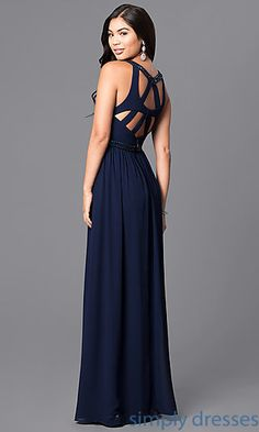 Shop long prom dresses with beading at Simply Dresses. Floor-length formal chiffon evening gowns with multi-strap backs and v-necklines.